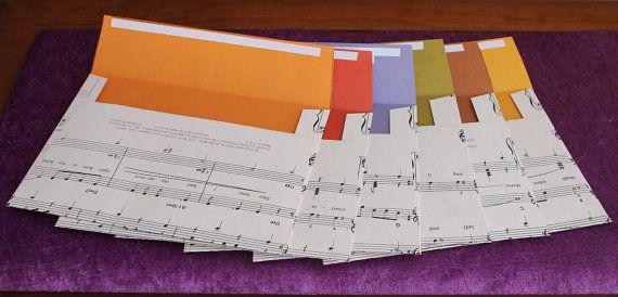 Handmade envelopes. Recycled sheet music by DragonzWenchEmporium