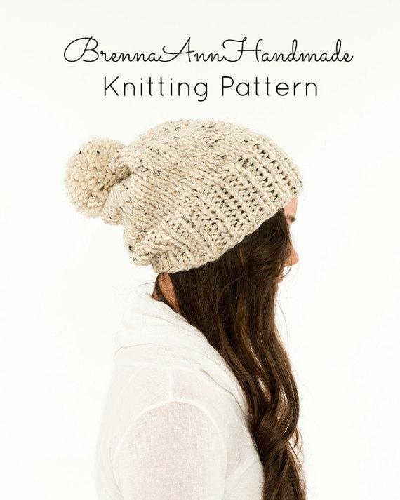 KNITTING PATTERN - Classic Slouchy Knit Pom Pom Hat Pattern, Beanie ...