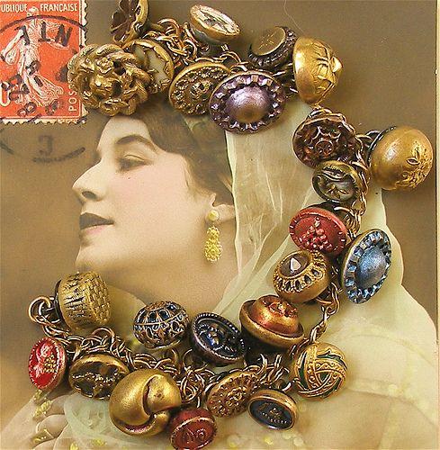 1800's antique button gold charm...