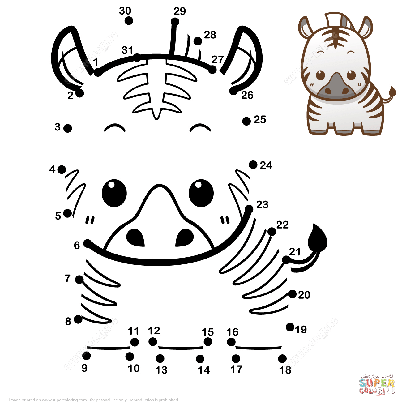Cute Baby Zebra Dot To Dot Free Printable Coloring Pages