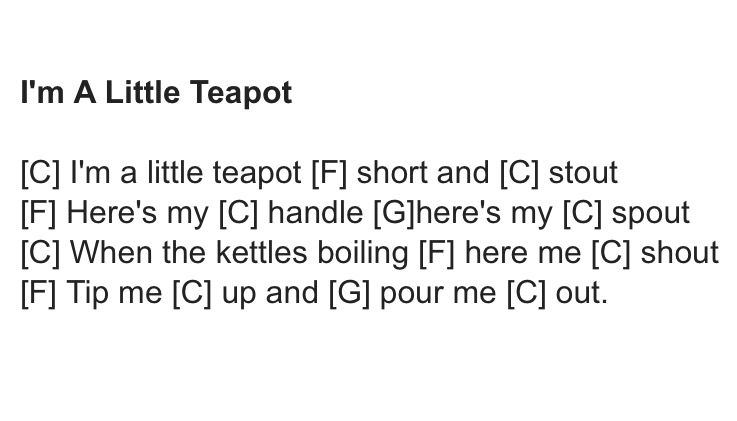 I M A Little Teapot Ukulele Chords Muziek