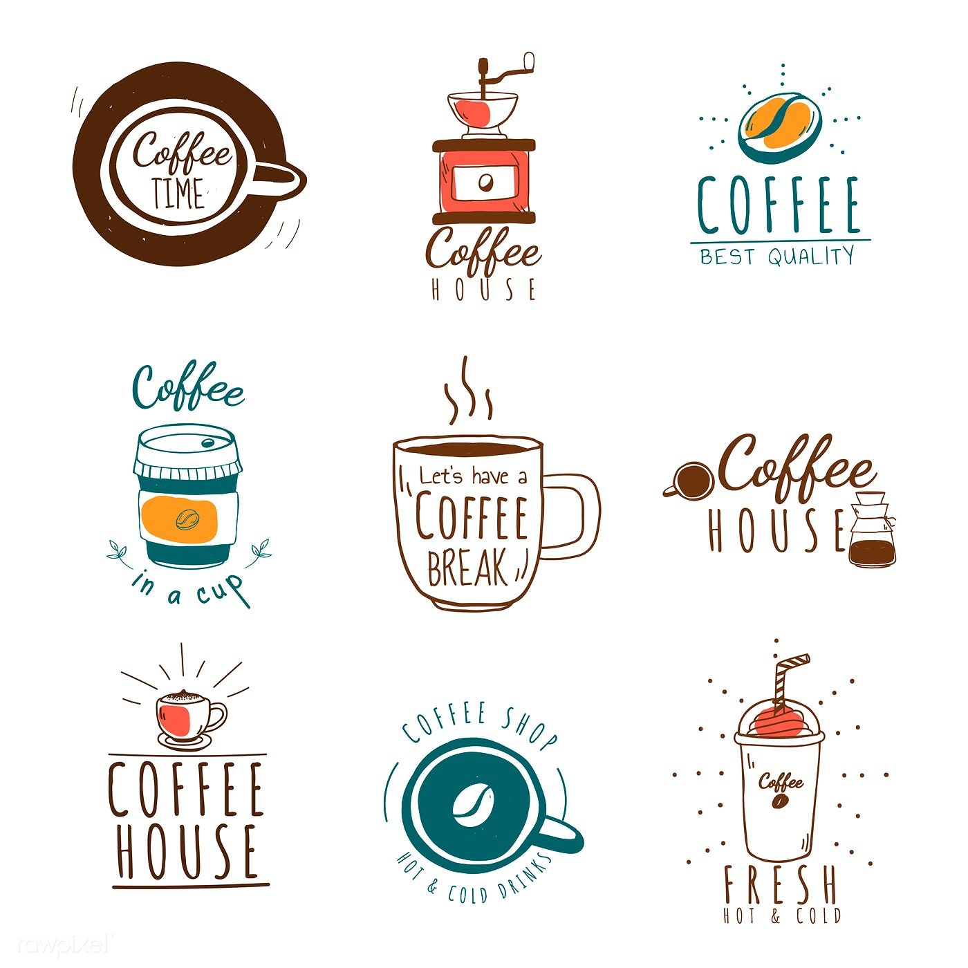 Set of coffee shop theme icons vector free image by