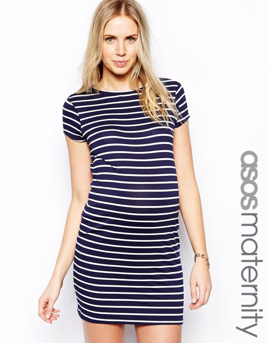 ASOS Maternity | ASOS Maternity Mini Bodycon Dress In Stripe at ASOS ...