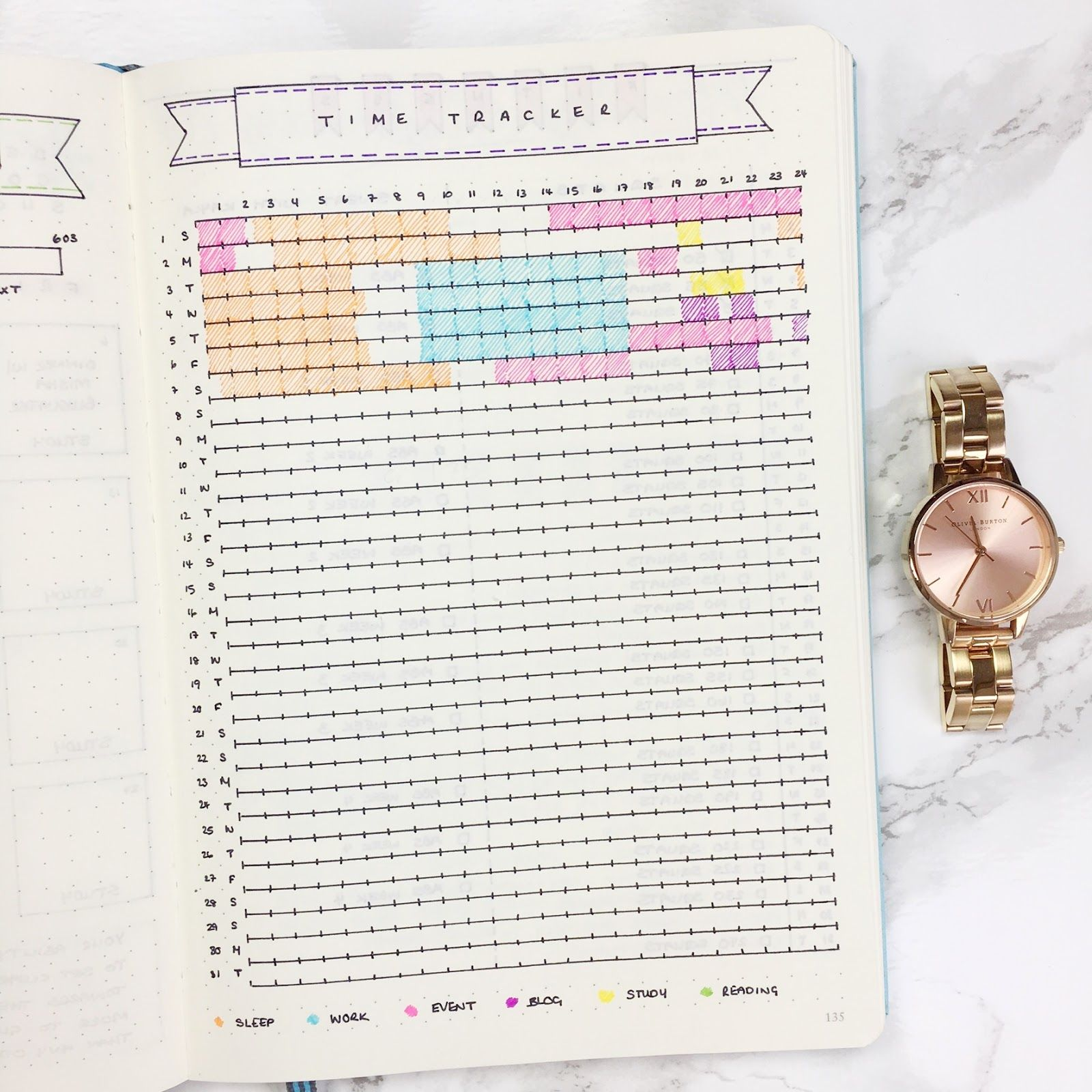 Bullet Journal Time Tracker Template  Journaling