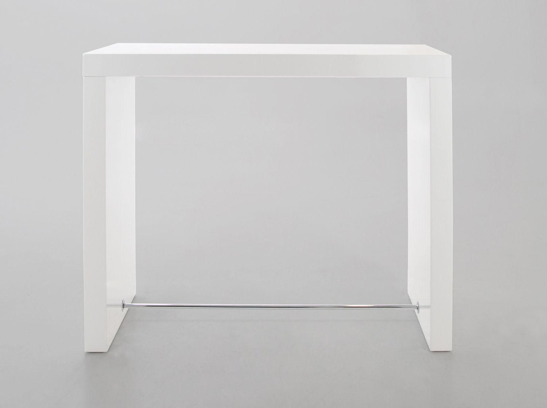White High Table Part - 15: Block Bar Table In White High Gloss Finish From Dansk