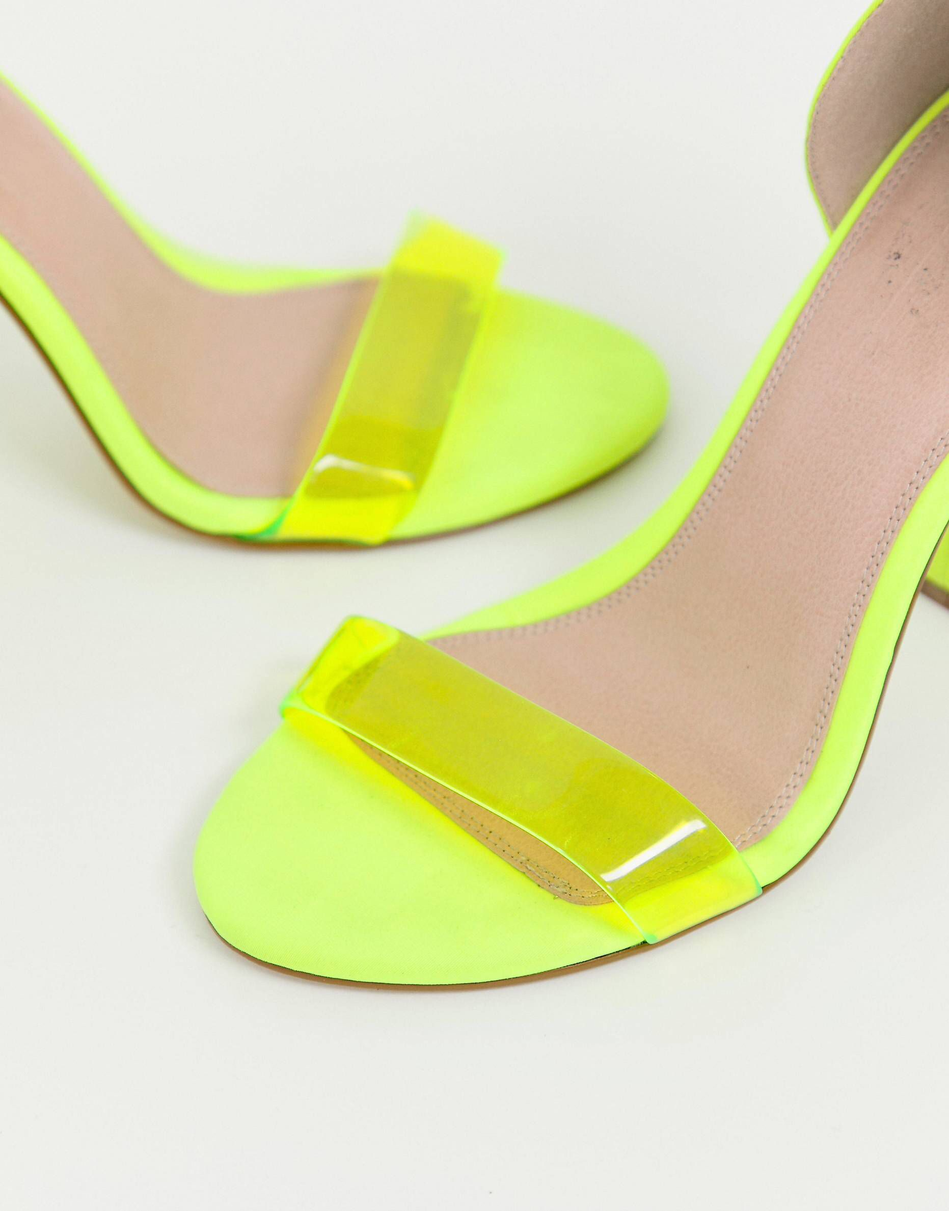 b1c3a69e0c1166 DESIGN Wide Fit Witness barely there block heeled sandals in neon yellow