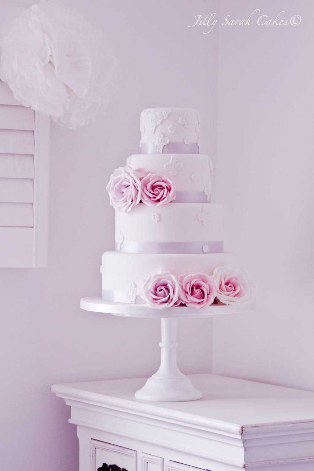 white silver and pink wedding cake pink silver and white lace wedding cake cakes you may 27320