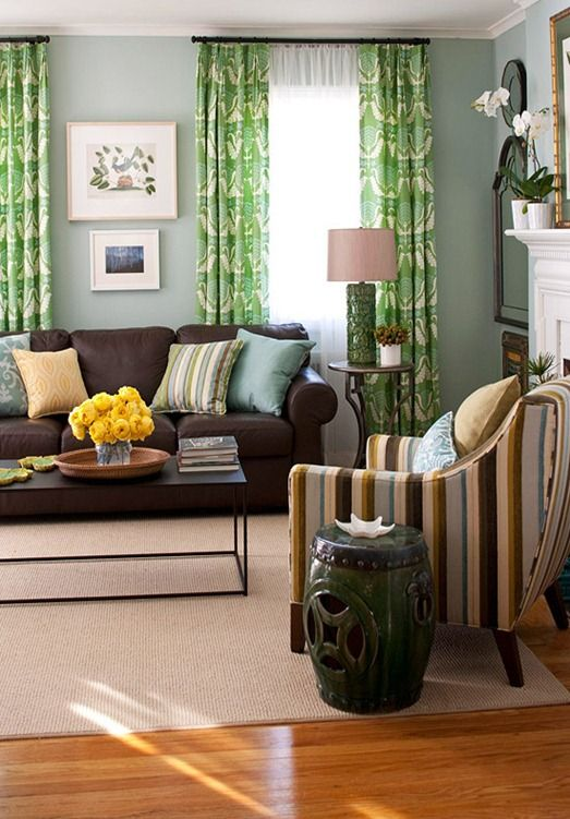 I Love This Living Room Especially The Kelly Green Curtains And Striped Side Chair