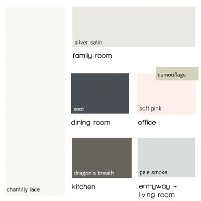 Paint Pallette Benjamin Moore Silver Satin Chantilly Lace Dragon S Breath Pale Smoke Soft Pink Soot Black Instead Of Camo