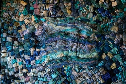 Embroidered Wall Art 'Blue Blue Sea'
