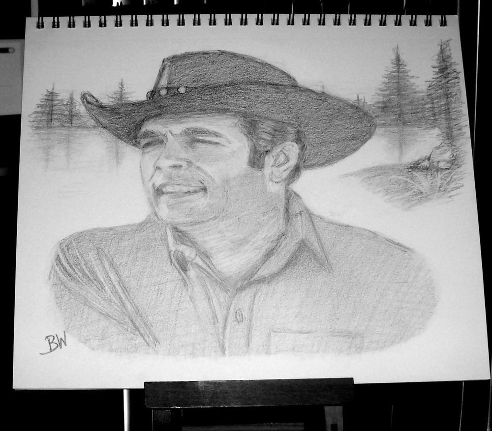 BONANZA/ADAM CARTWRIGHT/ CELEBRITY REALISM GRAPHITE PENCIL DRAWING  BY ARTIST BW #Realism