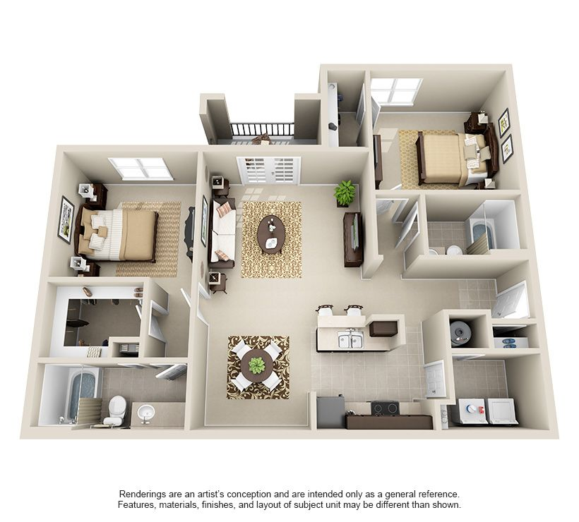 1 2 3 Bedroom Apartments For Rent Small Apartment House