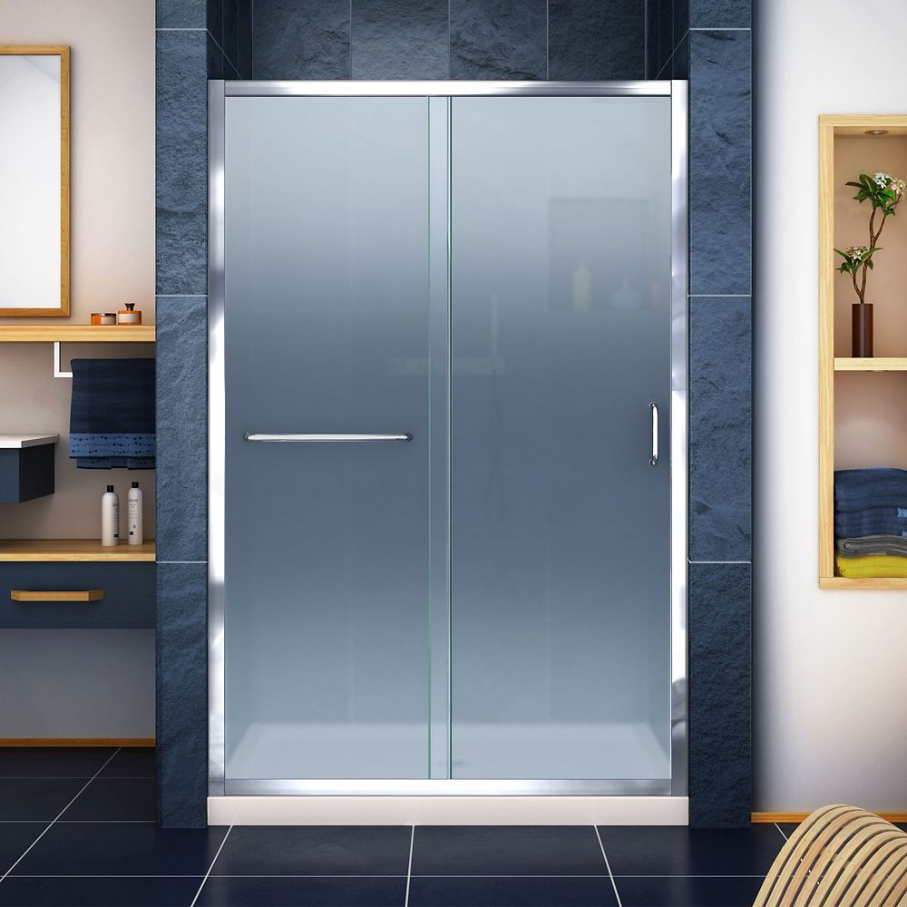 Infinity Z 36 Inch D X 48 Inch W Frosted Shower Door In Chrome And