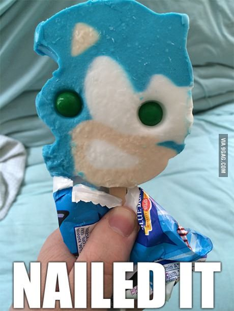 Sonic The Hedgehog Popsicle Nailed It Sonic Funny Sonic Sonic The Hedgehog