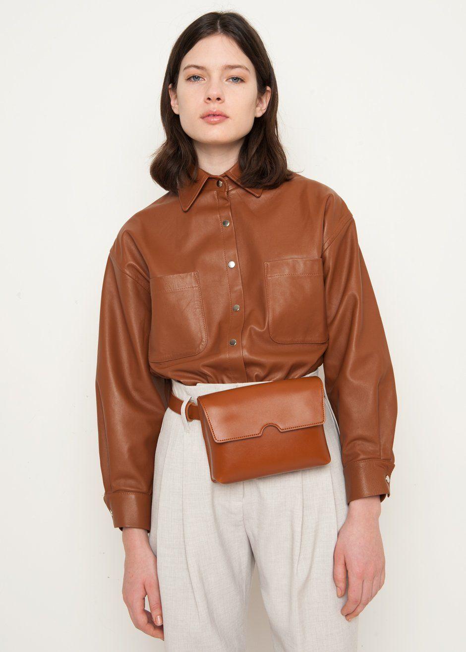 aee82fc5e0 ...  Georgia  Brown  Natural  Leather  Shirt  Bodysuit  thefrankieshop   frankienyc  frankiegirl Situationist Brown Leather Bodysuit – The Frankie  Shop