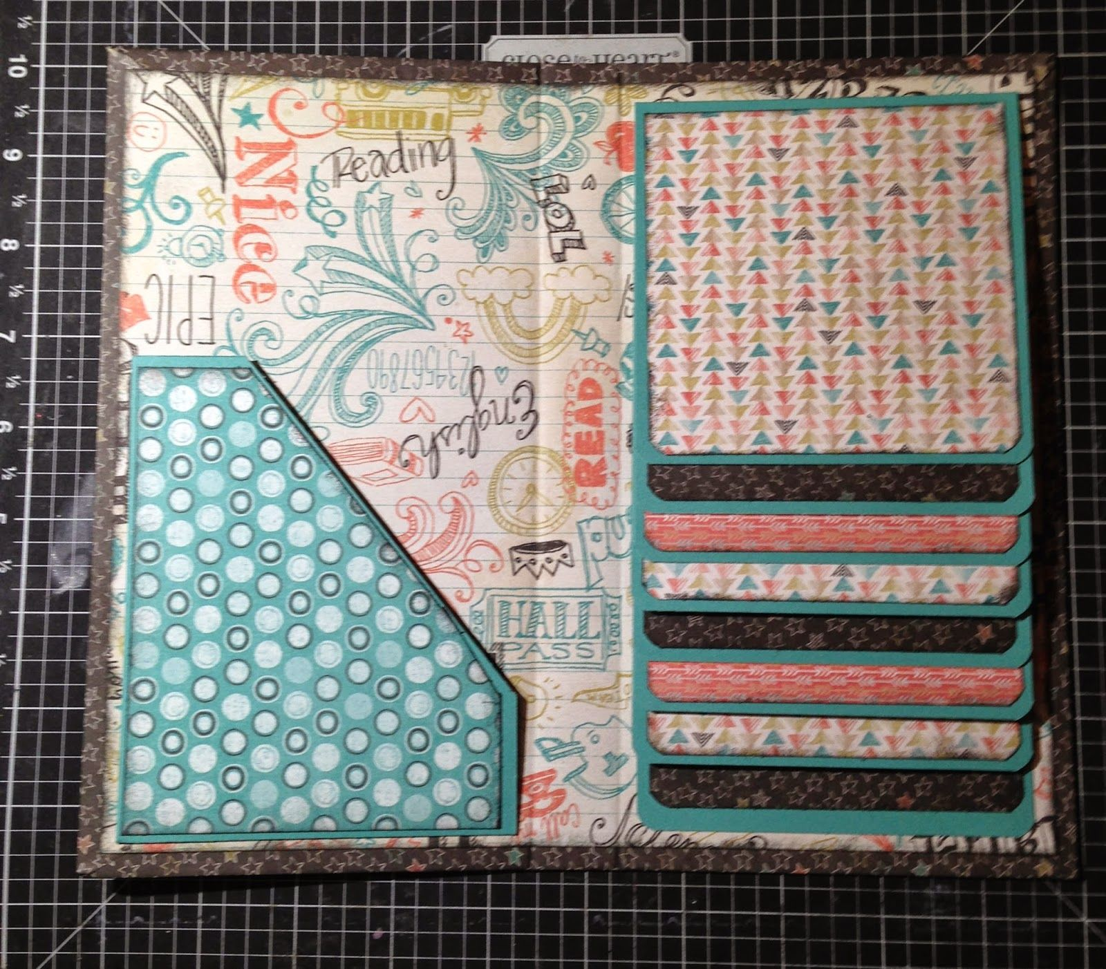 Scrappin 39 with shalana soc back to school waterfall folio for Waterfall design in scrapbook
