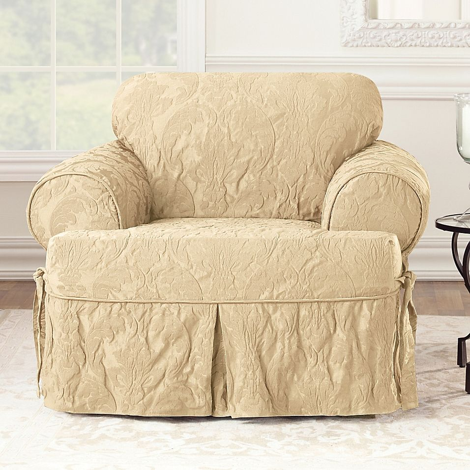 Sure Fit Matelasse Damask T Cushion Chair Slipcover In Tan