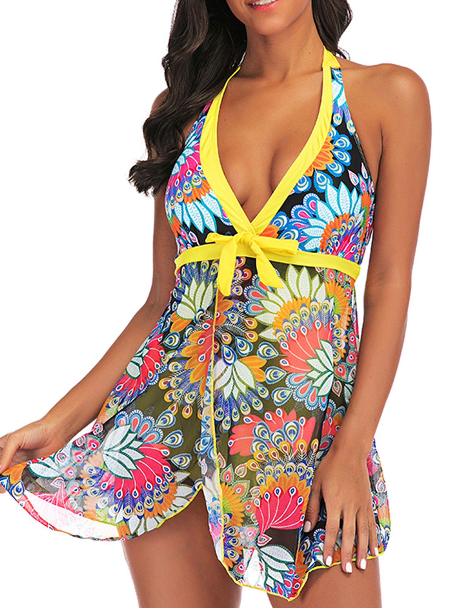Plus Size Women Tankini Swimdress Shorts//Briefs Swimwear Beachwear Swimsuit
