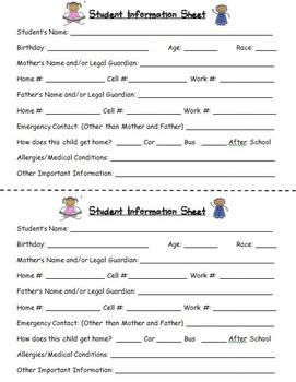 Student Information and Emergency Contact Card | Binder, Parents ...