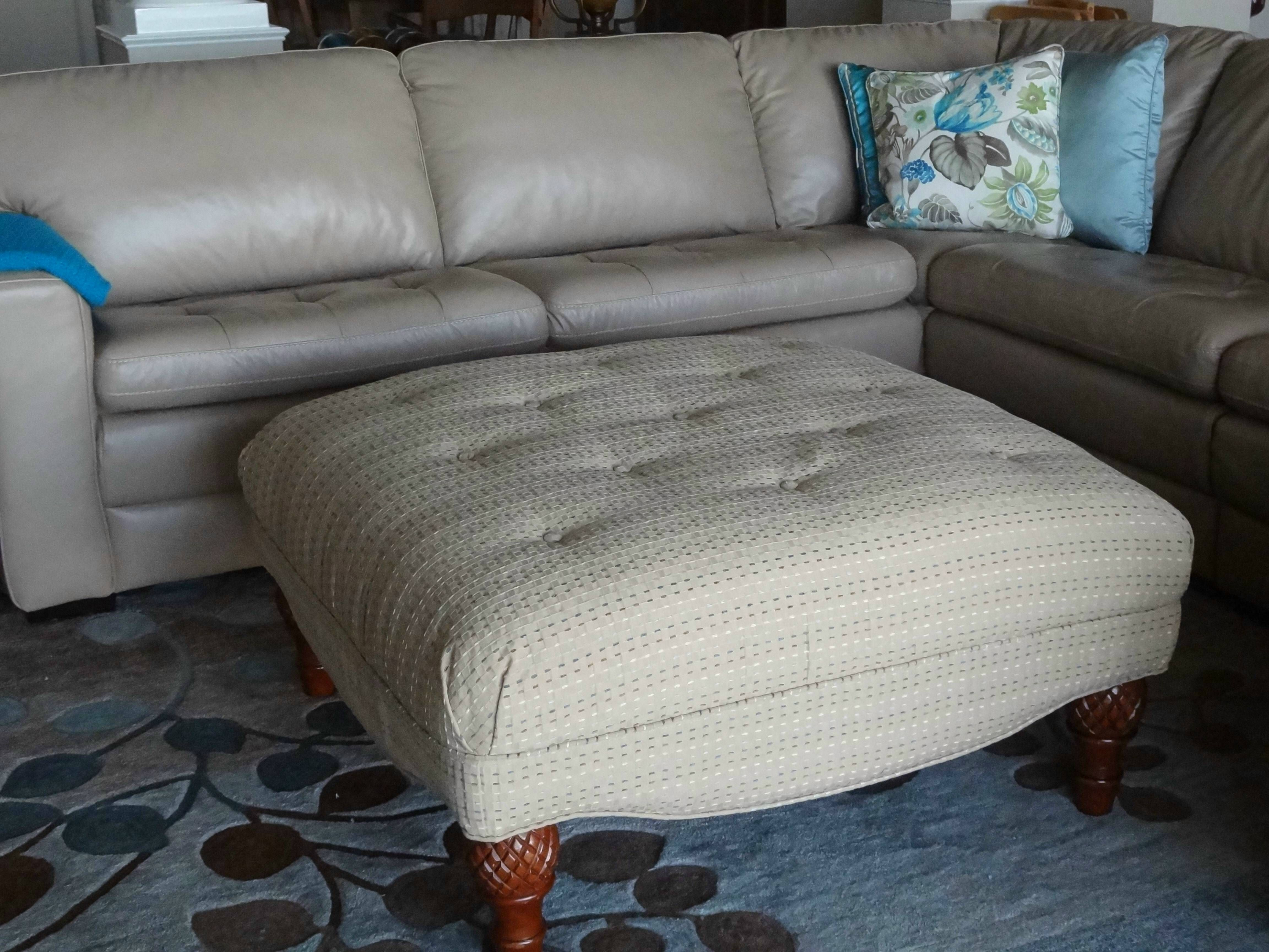 This slipcover hides a button tufted top Client wanted buttons