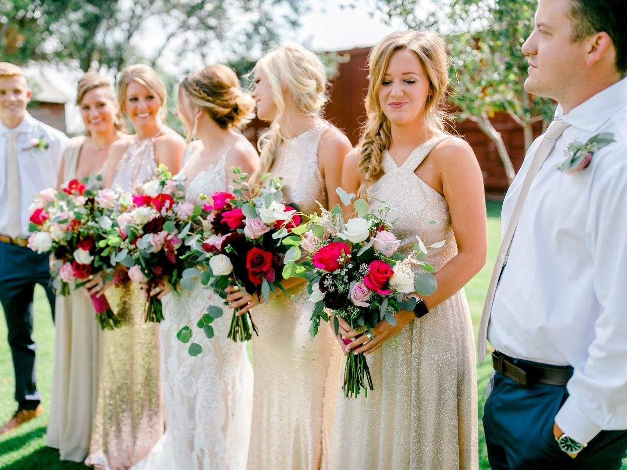Bridal party gold bridesmaids dresses summer wedding katie rivera bridal party gold bridesmaids dresses summer wedding katie rivera photography cotton creek ombrellifo Gallery