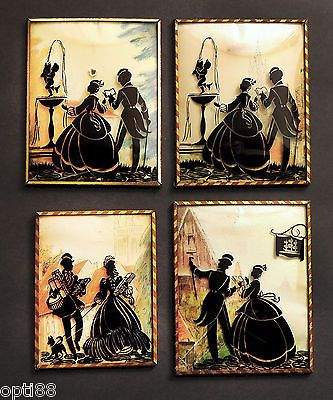 Fast Deliver Vintage Silhouette Pictures Convex Glass Reverse Black Painted With Metal Frame Other Antique Decorative Arts