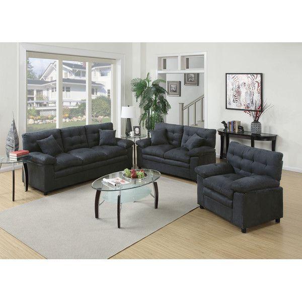 Poundex Bobkona Colona 3 Piece Living Room Set & Reviews | Wayfair ...