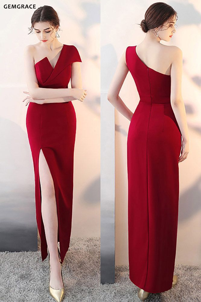 Sexy One Shoulder Burgundy Fitted Formal Dress with Slit #HTX86001