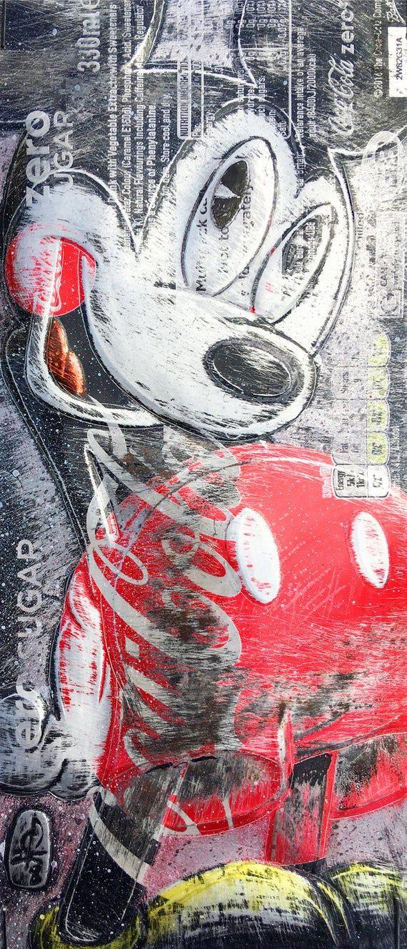 Hand Signed Print by Chris Duncan, MICKEY MOUSE on Coke Zero Can, Comic, Fan Art, Street Art, Disney