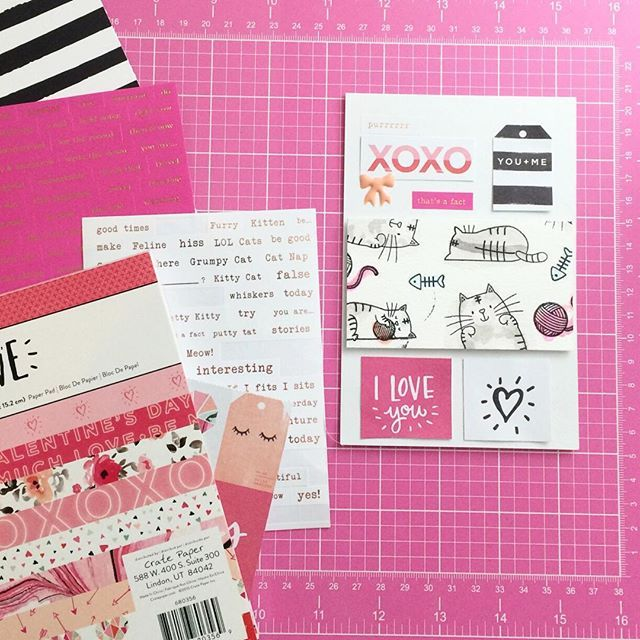 Quick card made with the Hello Love Collection by Crate Paper and a stamped pattern with stamps by mftstamps