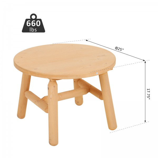 Outsunny 25 Quot Round Rustic Log Coffee Table Natural Wood End Side Table Home Garden Furniture All