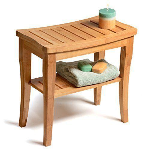 Genial Waterproof Bamboo Shower Seat Bench W/ Storage Shelf Indoor Outdoor  Comfortable
