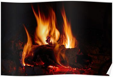Fire In Fireplace Poster By Jean Marie Polain Poster Paint