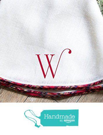 "Oversize White Burlap Christmas Tree Skirt with Tartan Plaid Piping, Approx. 60"" diameter, from The Burlap Cottage® http://www.amazon.com/dp/B018Q6S1C8/ref=hnd_sw_r_pi_dp_-GdBwb0XFK561 #handmadeatamazon"