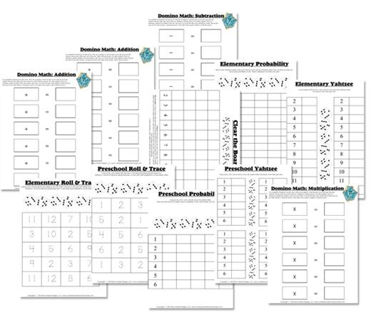Free Math Worksheets Dice Domino Math Games Fun Math Dominoes Math Games Free Math Worksheets