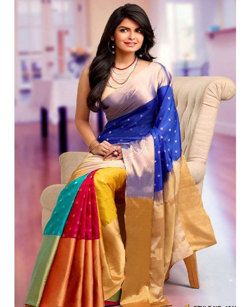 77186a8af Buy Tantalizing Multi Poly Silk Printed Partywear Saree at happydeal18.com