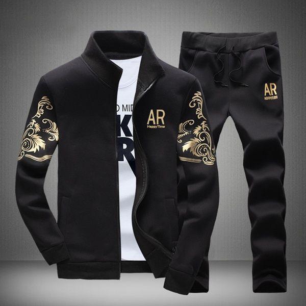 2PCS Men/'s Sweater Casual Tracksuit Sport Suit Jogging Athletic Jacket+Pants Hot