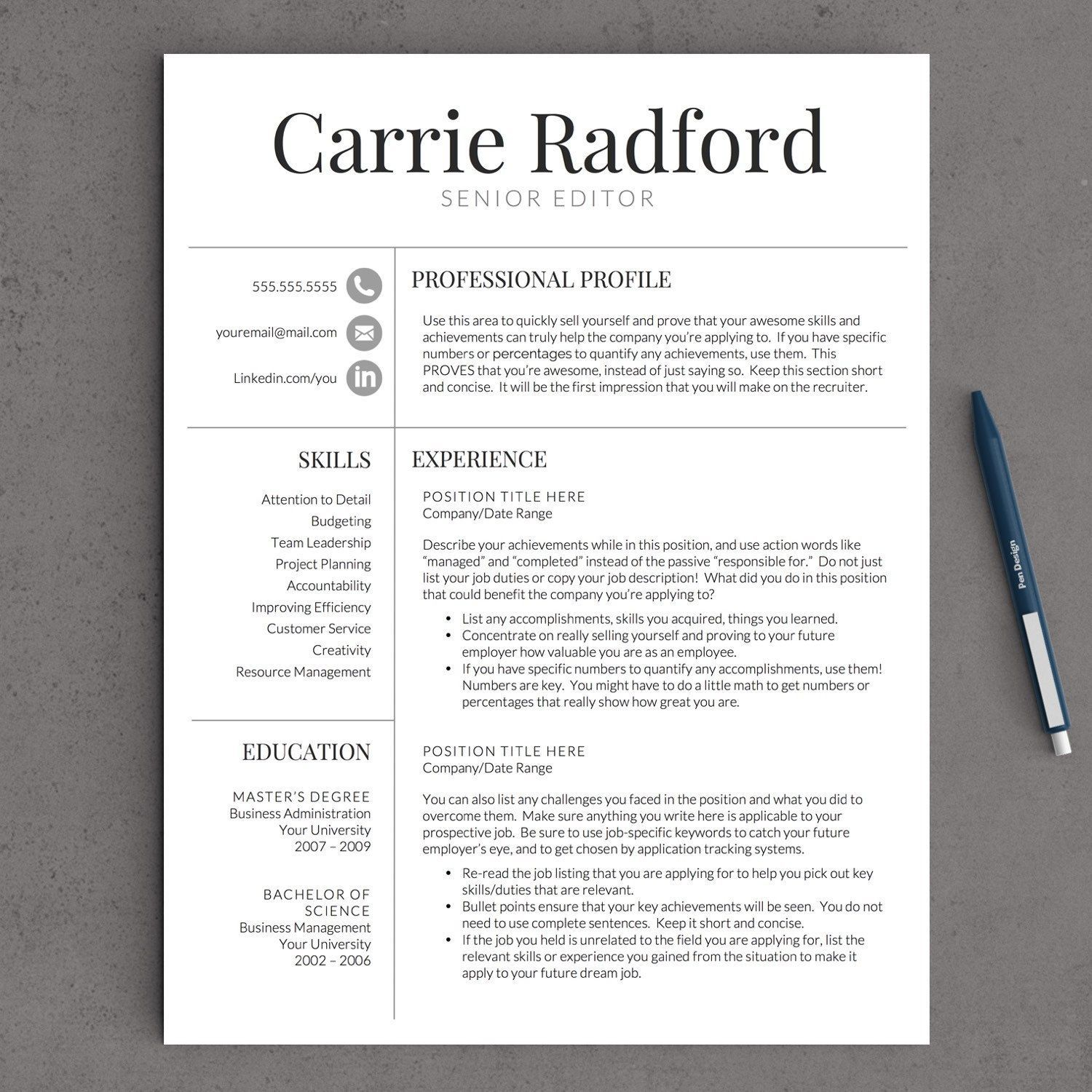Professional Resume Template for Word & Pages