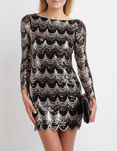 dbd8972cb0 Scalloped Sequin Bodycon Dress Black Gold