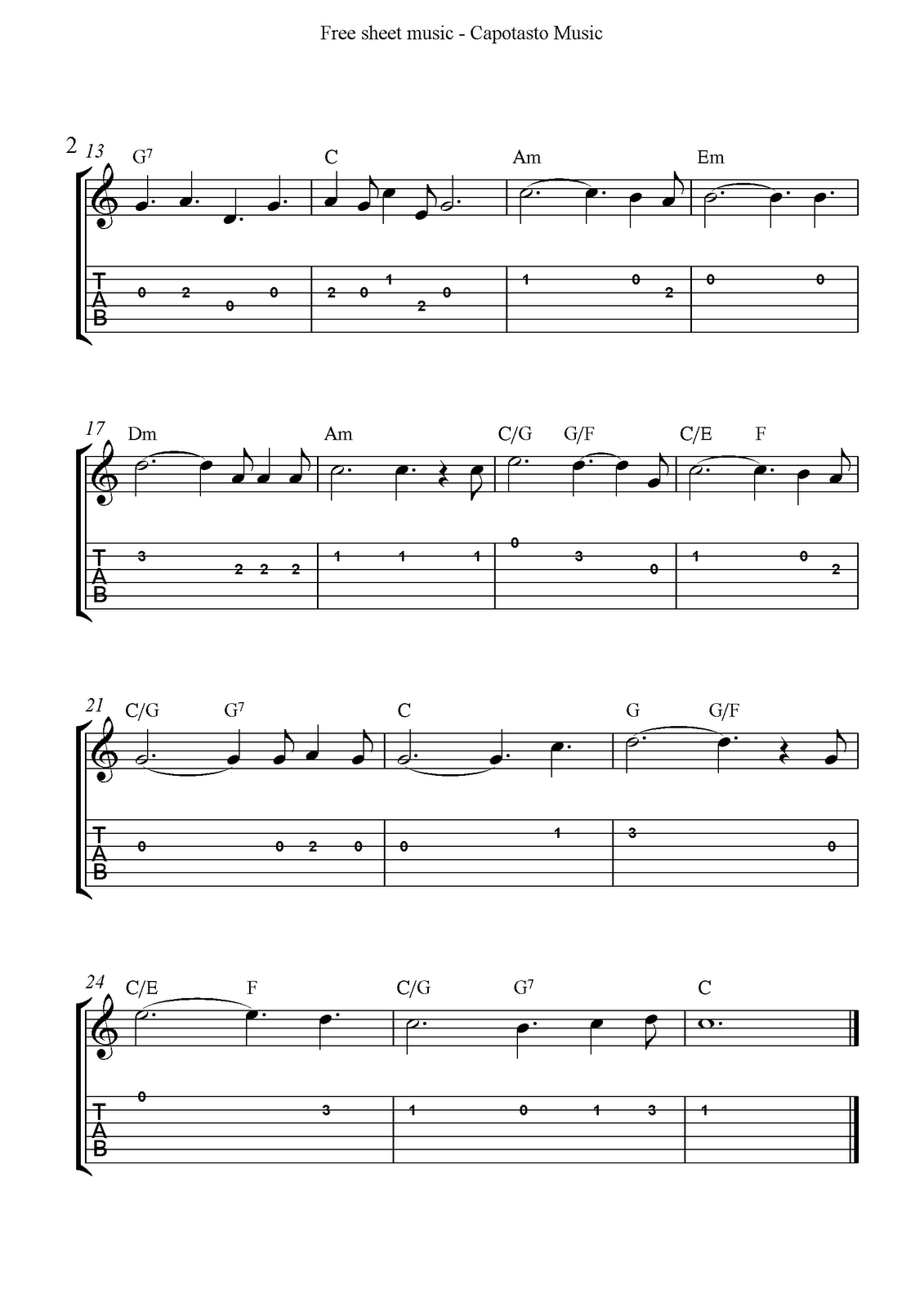 Free Printable Sheet Music: O Holy Night, free easy Christmas guitar sheet music and guitar tabs ...