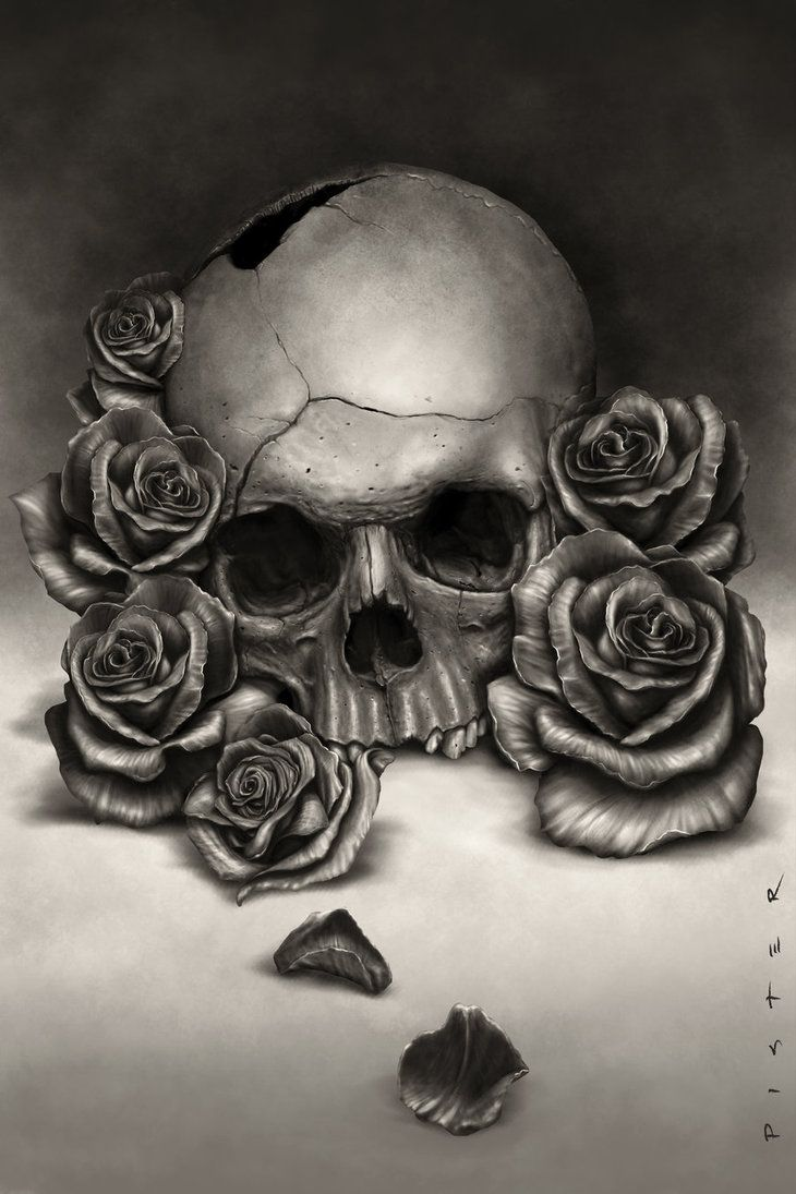 Wanted to paint a more realistic skull. Painted in PS, and ...