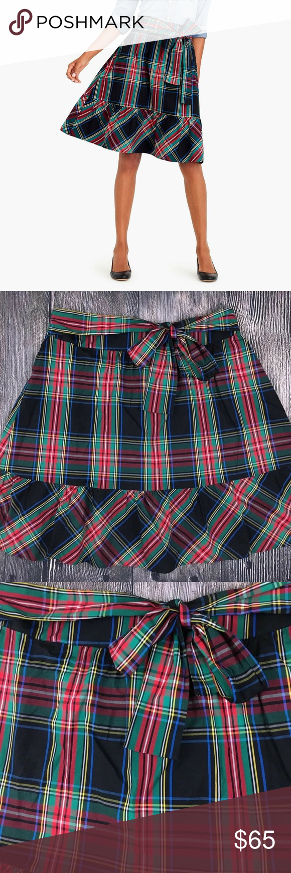 greatvarieties special discount of exquisite style J. Crew Big Bow Midi Skirt Size 18 Plaid Sold Out Listed is ...