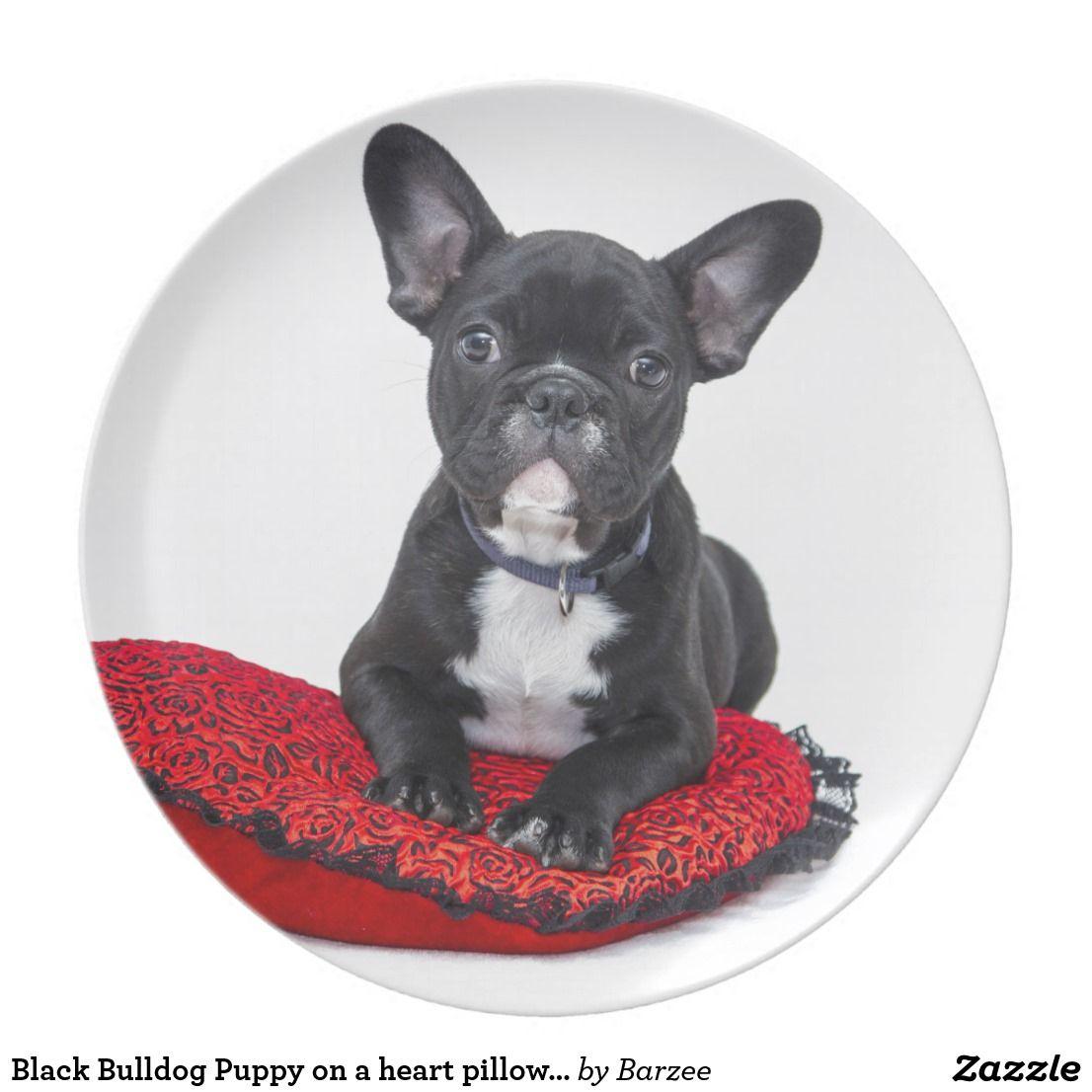Black Bulldog Puppy On A Heart Pillow Valentine Plate Zazzle Ca