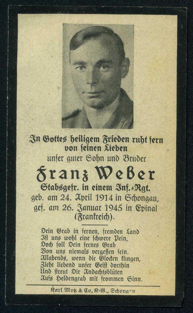 orig WK2 STERBEBILD - DEATH CARD - Ardennen Offensive 1945 - Battle of the Bulge