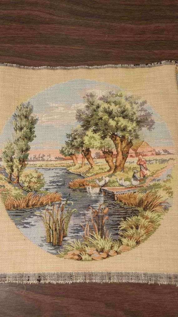Romantic landscape SMALL ROUND TAPESTRY needlepoint weaving wallhanging picture doiley applique