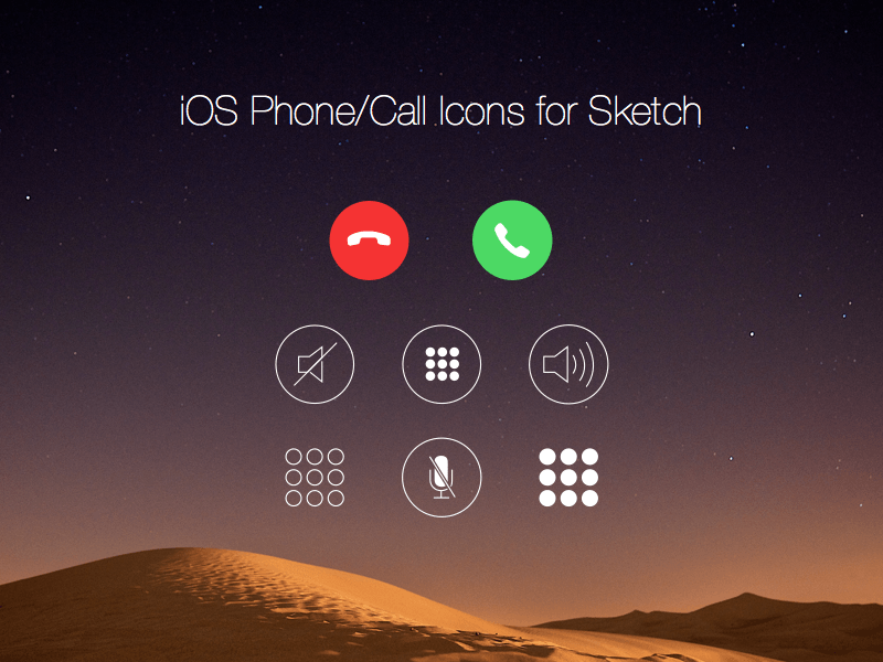 iOS Call Screen Icons Free sketch resource for download