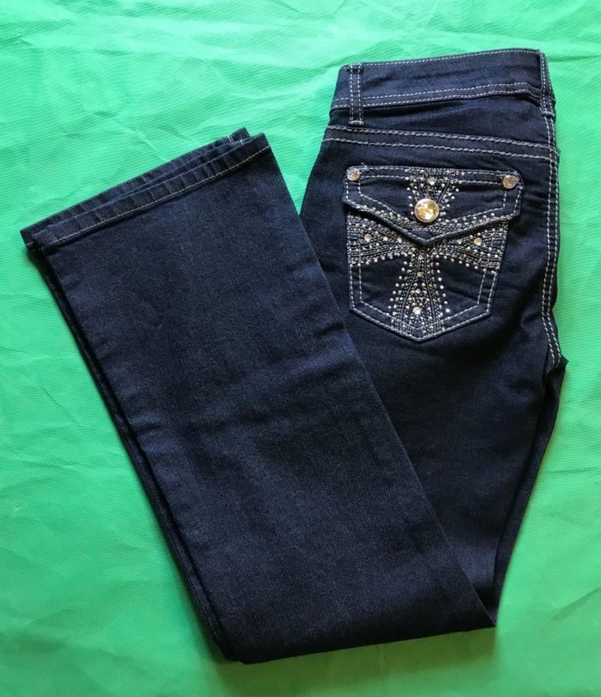 6b39c7fc4705 Apt 9 Blue Jeans Rhinestone Embellished Cross Pockets Bootcut Dark Wash Size  2S #Apt9 #BootCut