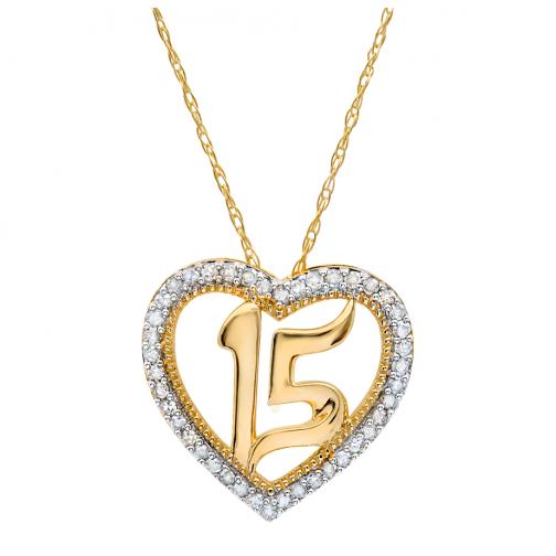 1bcde67e6101 10k Yellow Gold Quinceañera Heart Pendant .15CTW