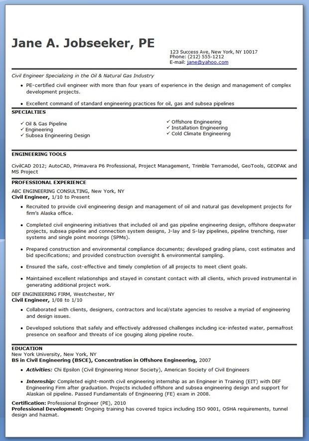 Civil Engineer Resume Template (Experienced) Creative Resume - engineering resume format