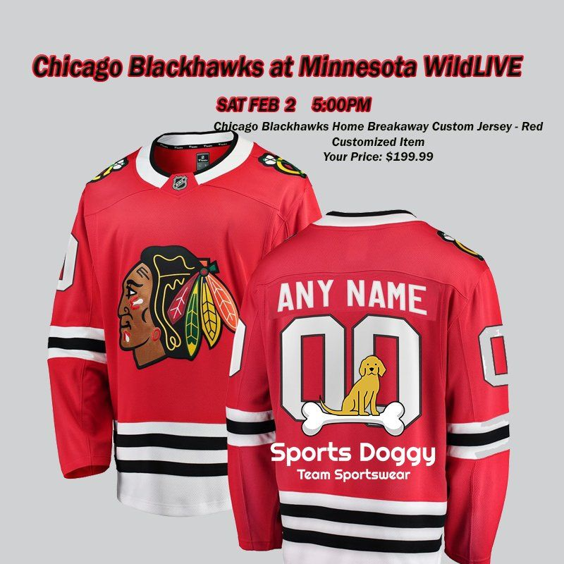 c0fe597d4 Ice Hockey · Chicago Blackhawks at Minnesota Wild Today 5pm. This cool  Blackhawks jersey has your name on